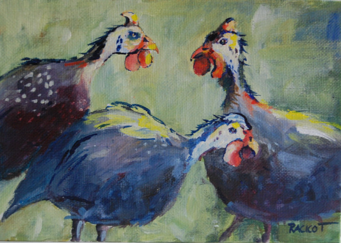 """Day 7 of the 30 Paintings in 30 Days, """"Guinea Hens"""""""