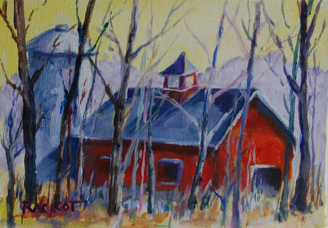 """Day 22 of the 30 Paintings in 30 Days - """"Simsbury Barn in the Woods"""""""