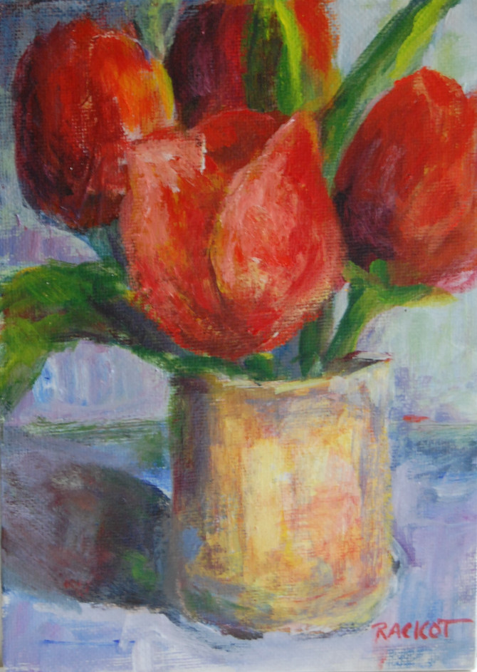 """Day 11 of the 30 Paintings in 30 Days Challenge - """"Tulips are Red..."""""""