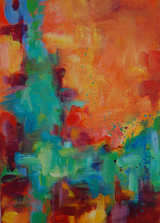 "Day 5 of 30 Paintings in 30 Days Challenge - ""Complimentary Colors"" Abstract"
