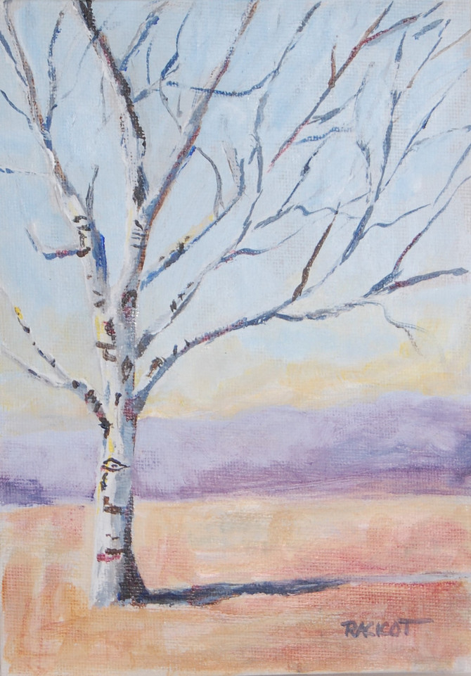 """Day 12 of the 30 Paintings in 30 Days Challenge, """"Birch in West Simsbury"""""""