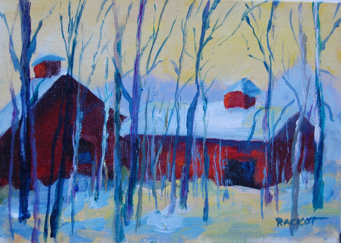 "Day 2 of the 30 Paintings in 30 Days Challenge  - ""Canton Barn in the Woods"""