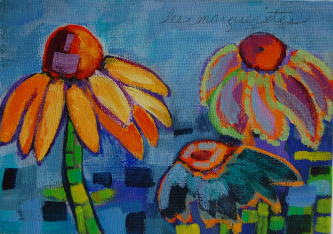"""Day 27 of the 30 Paintings in 30 Days Challenge - """"les marguerites""""  a redo of """"Coneflowers at Colon"""