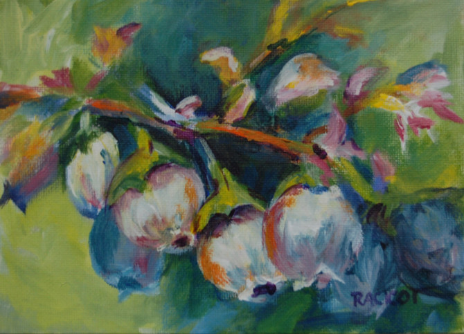 "Day 4 of the 30 Paintings in 30 Days Challenge - ""The Blossoms Before the Berries"""