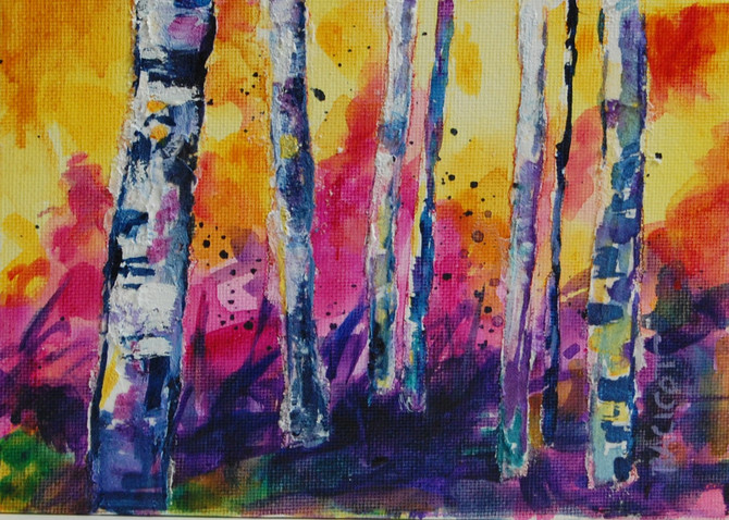 """Day 17 of the 30 Paintings in 30 Days Challenge - """"Sunset Through the Woods"""""""