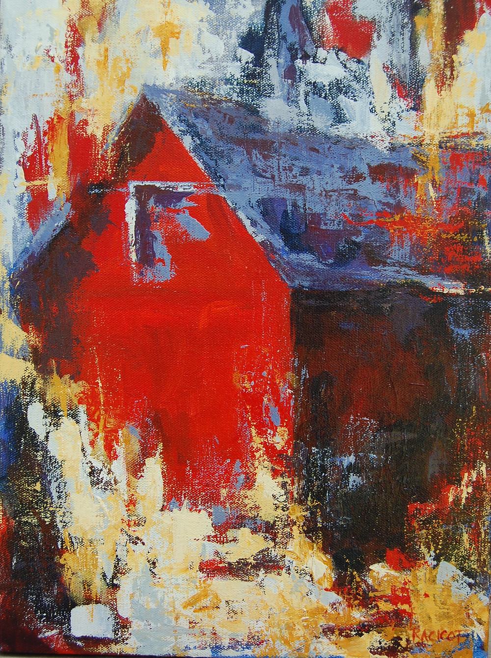 """Red Barn in the Fall 12"""" x 16"""""""