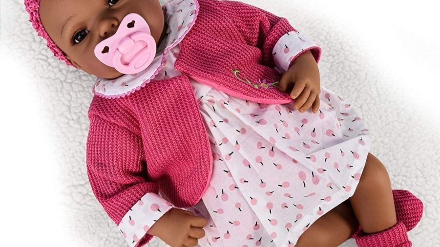 Black doll pink dress