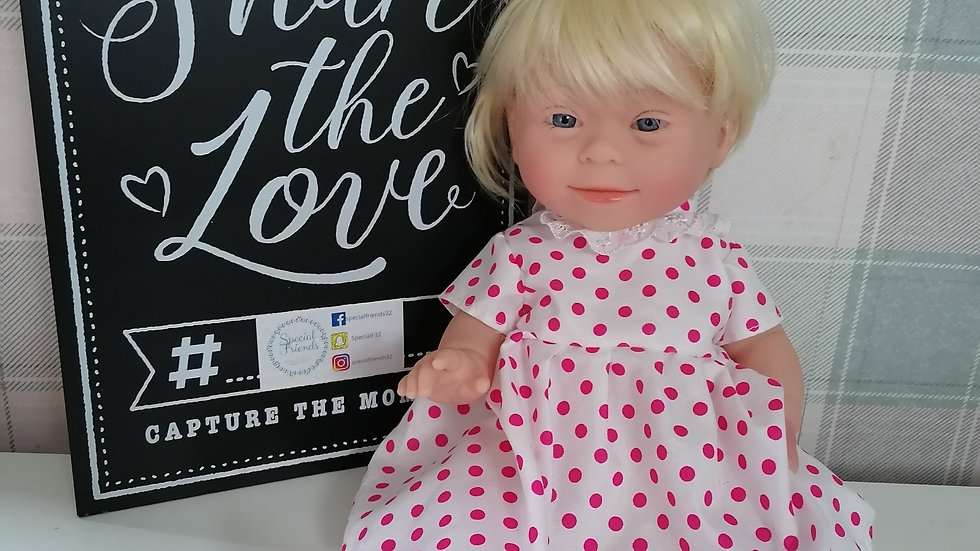 Down syndrome blonde hair doll