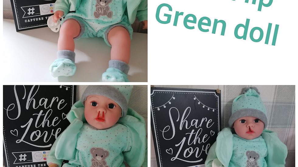 Cleft lip green doll