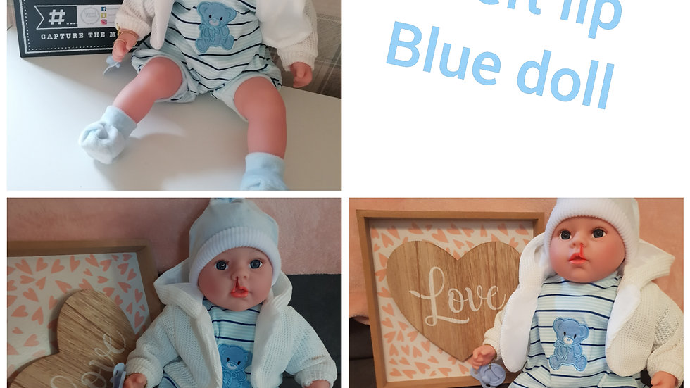 Cleft lip blue doll