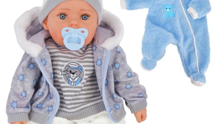 Blue and grey boy doll