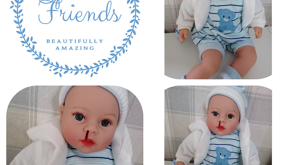 Cleft lip right side talking blue clothes doll
