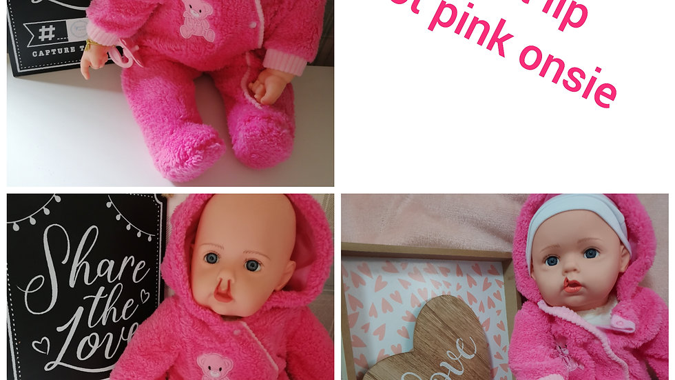 Cleft lip hot pink onsie doll