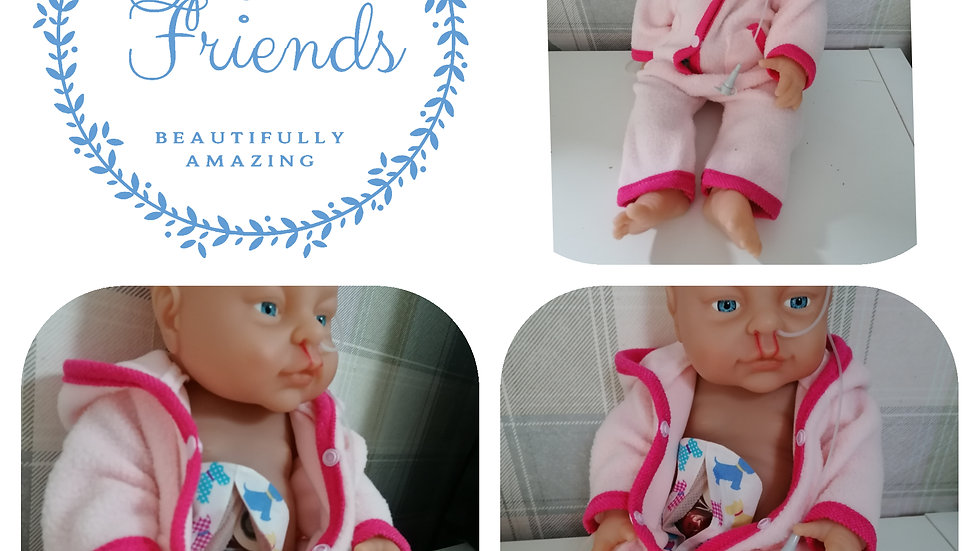 Repaired cleft, NG tube and stoma girl doll