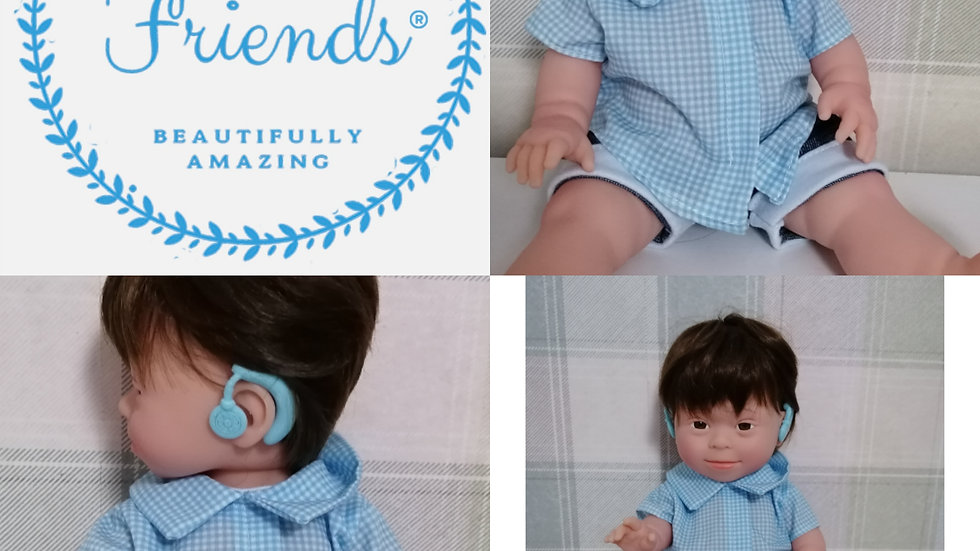 Down syndrome boy doll with hearing aids