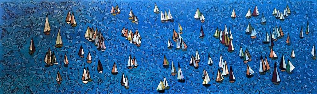 Sailing ships at sea