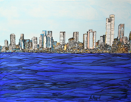 Landscape of Tel-Aviv from the sea 90x70