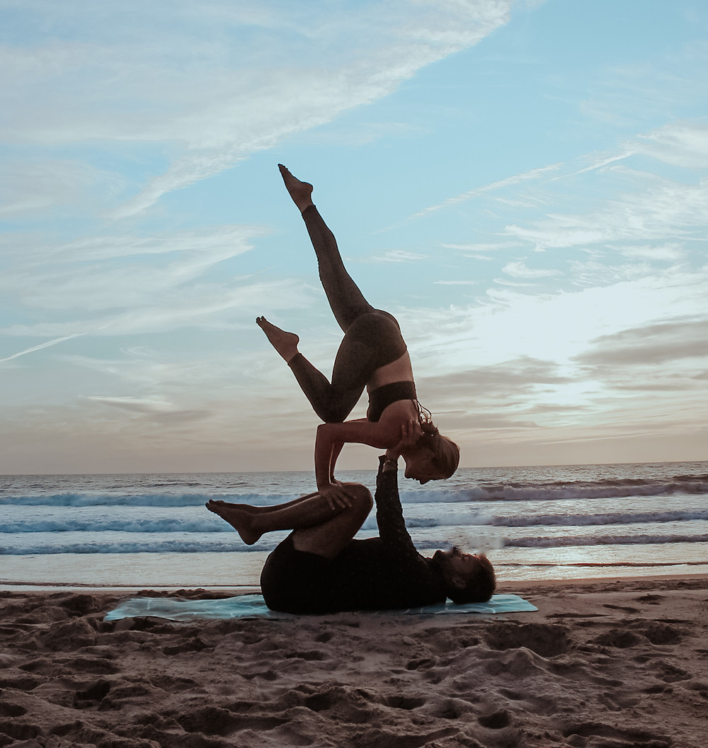 Supported One Legged Crow AcroYoga Biblio