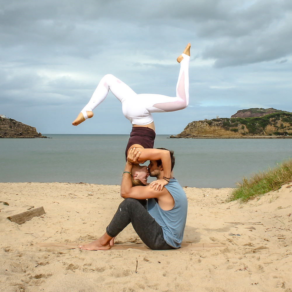 Double Sit Kiss leg variation AcroYoga Biblio