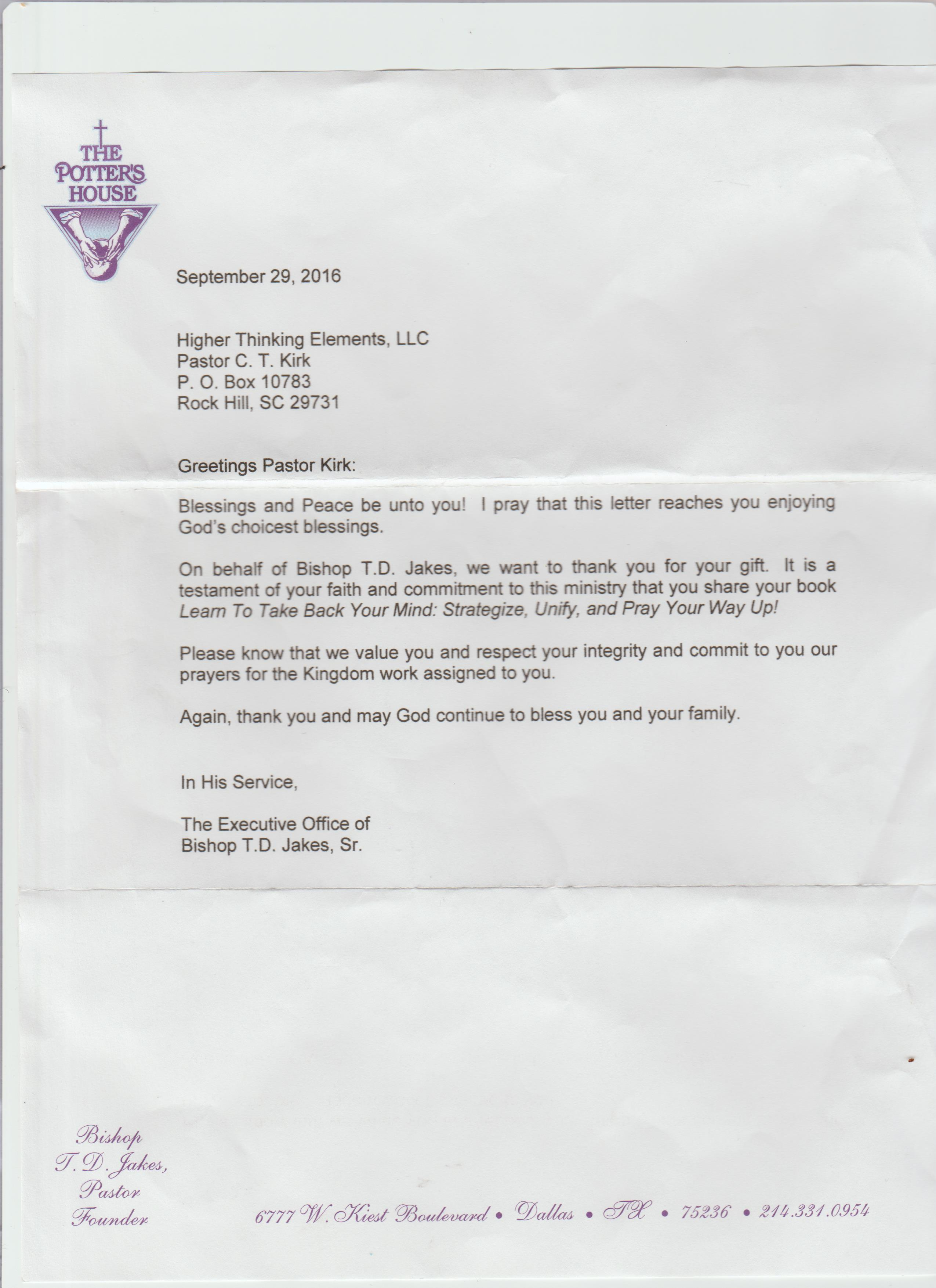 Letter from the office Bishop Jakes