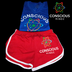 Women blue V neck and Red shorts