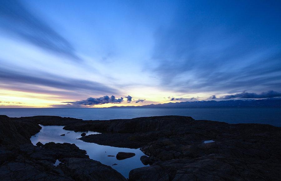 Tidepool at dawn on British Columbia coast.