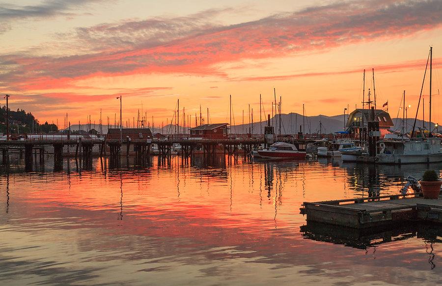Cowichan Bay Inner Harbour evening boats.