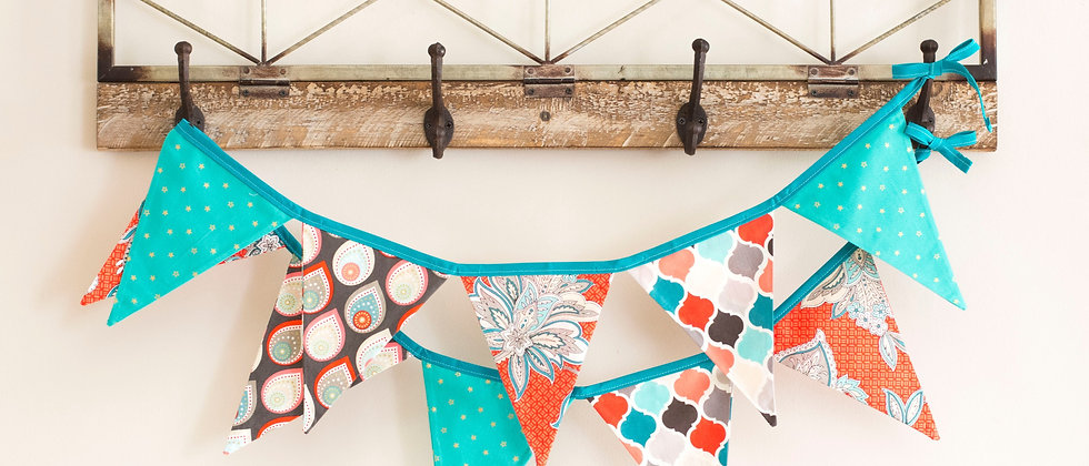 Coral & Turquoise Bunting (Teal Ribbon)