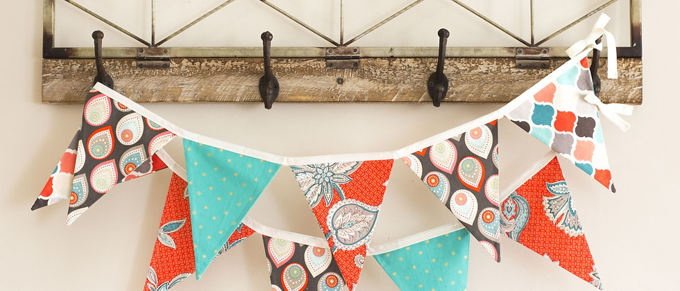 Coral & Turquoise Bunting (Ivory Ribbon)