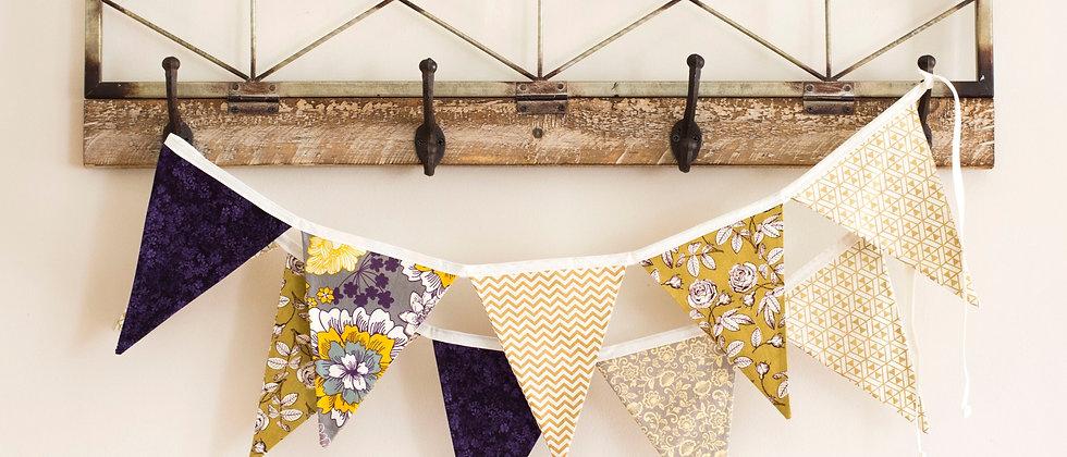 Purple & Gold Bunting (Ivory Ribbon)