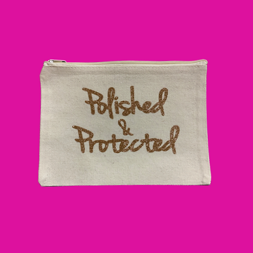 The Polished & Protected Pouch (Khaki w/ Glitter Gold)