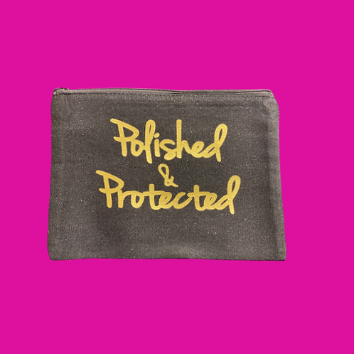 The Polished & Protected Pouch (Black w/ Matte Gold)
