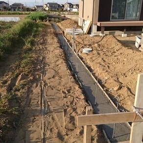 太田市外構工事 ブロック工事 ベースコンクリート