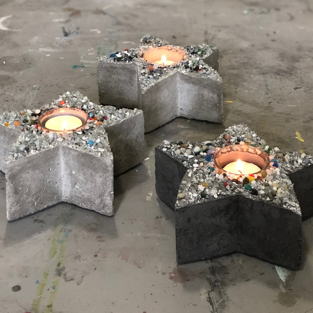 Concrete Votive Candle Holders  $22.00