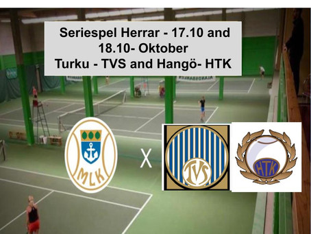 The MLK men's tennis team has 2 away matches this weekend in Turku and Hangö.