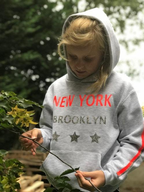 Hoodie Tienrz Grijs New York