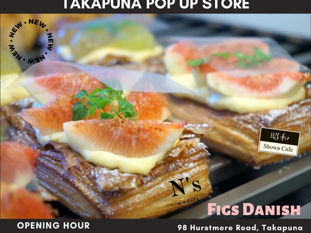 Takapuna pop up store will open from 10am with New danish(figs)tomorrow🥐