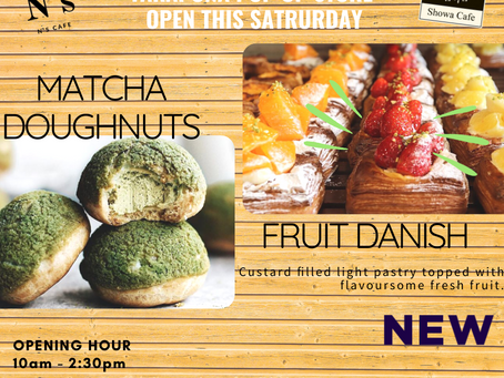 Takapuna Pop up store will open from 10am tomorrow.Limited stock Matcha Doughnuts and FruitDanish🍵