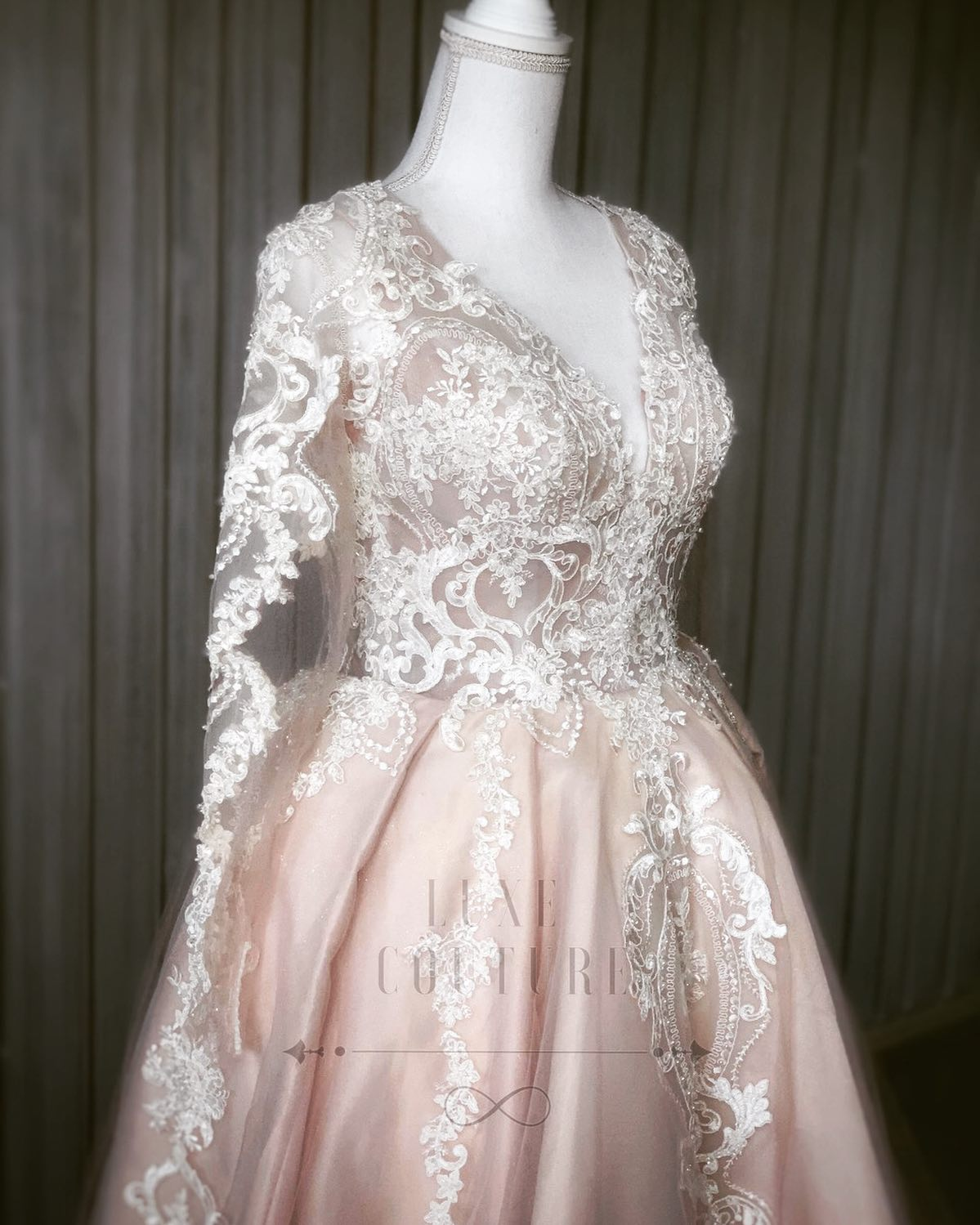 Luxe Couture Blush and White Lace Elegant Wedding Dress