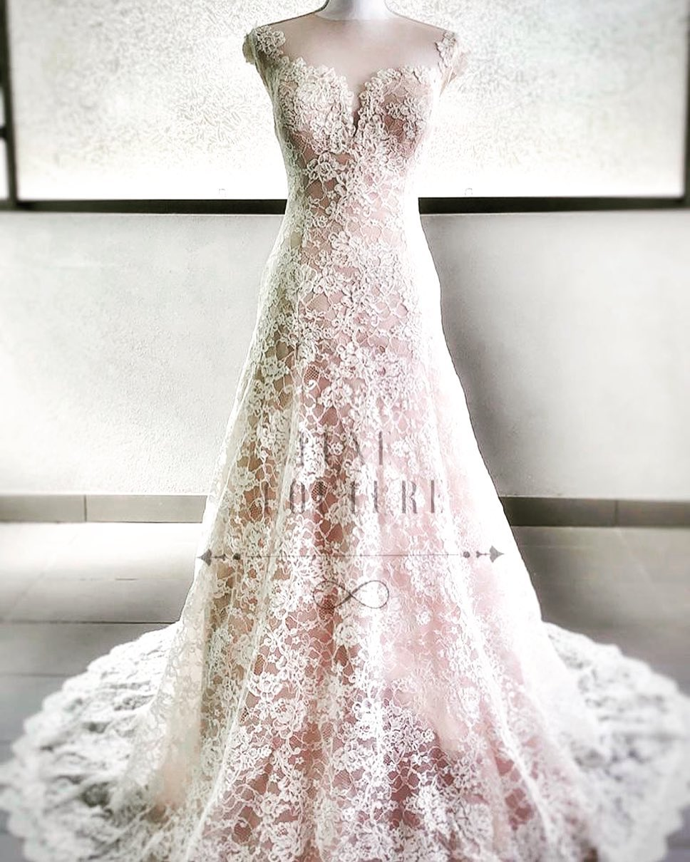 Luxe Couture Floral French Lace Blush Wedding Dress