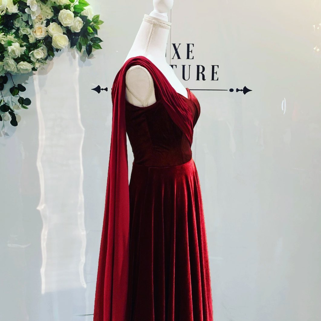 Luxe Couture Wine Red Velvet Evening Dress