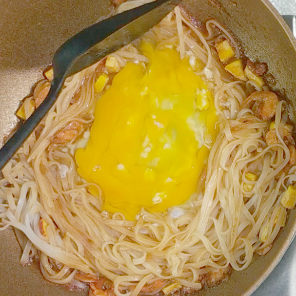 4. Add eggs stir until combined