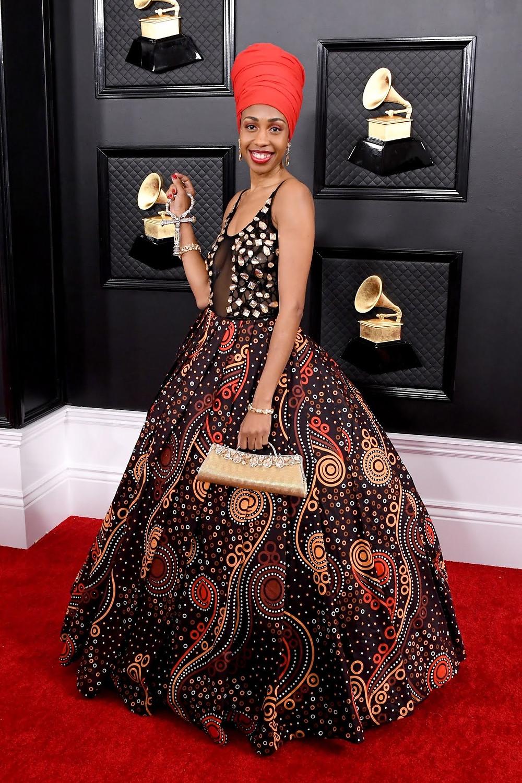 Jazzmeia Horn at Grammys red carpet 2020