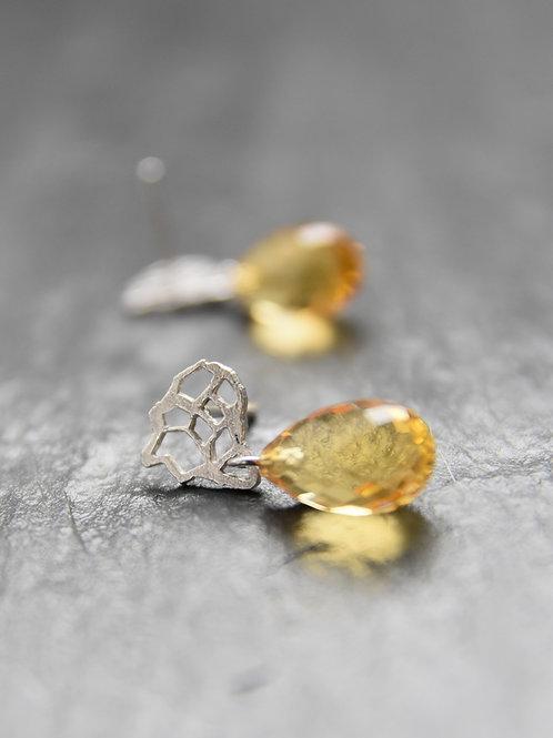 Øreringe - Afrikas citrin - 18K hvid guld