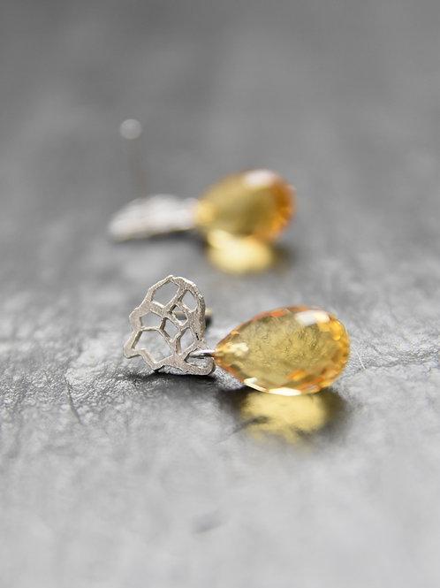 Earrings - Afrika's citrine - 18K white gold