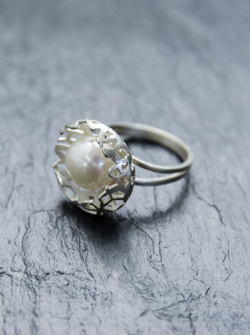 ring - Rede - hvid guld & perle