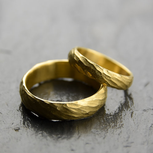 wedding rings - spiral growth 6mm - yellow gold