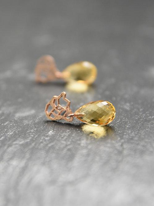 Earrings - Afrika's citrine - 18K red gold
