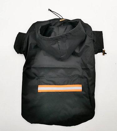 Imperméable noir a capuche protection pluie avec bande fluo