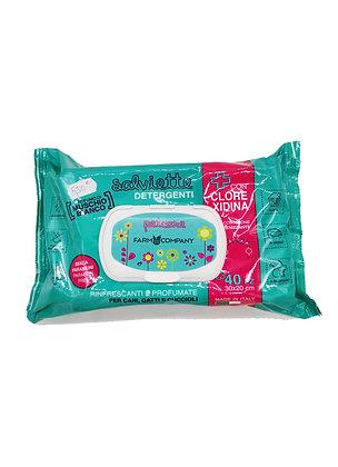 Lingettes nettoyante senteur poudre de bébé à la clorexidine Farmcompagny